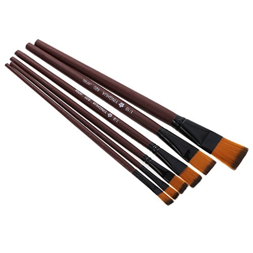 Myoffice ナイロン毛筆 練習 絵画ブラシ 水彩アクリル 描画ペン 木製 6枚の商品画像