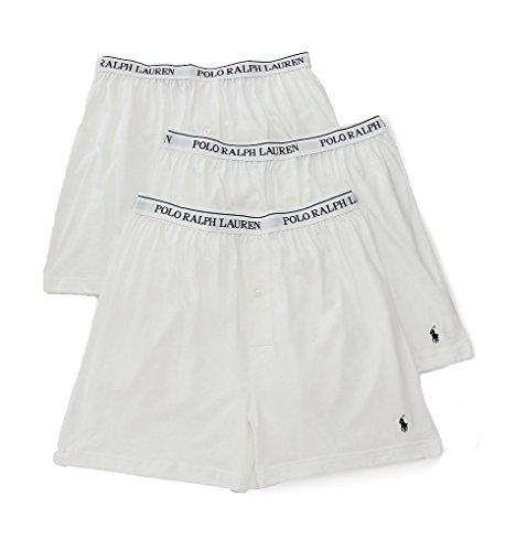 White Knit Boxer - Polo Ralph Lauren Classic Cotton Knit Boxer 3-Pack, XL, White