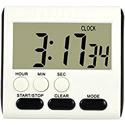 Digital Kitchen Timer - Hiistar Big Digits - Loud Alarm - Magnetic Backing - Stand - White - 1 AAA(Not Include)