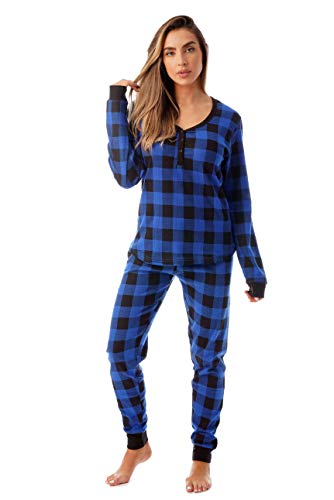 (#followme Buffalo Plaid 2 Piece Base Layer Thermal Underwear Set for Women 6372-10195-NEW-ROY-XL)