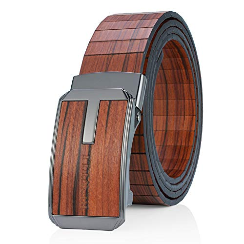 Bewell Mens Wooden Belts with Automatic Belt Buckle Handmade Wood Dress Belt for Men (Red)