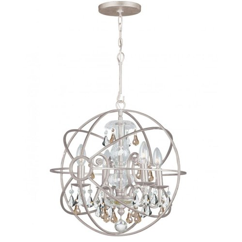 4 Light Incandescent Chandelette - Crystorama 9025-OS-GS-MWP Crystal Accents Four Light Mini Chandelier from Solaris collection in Pwt, Nckl, B/S, Slvr.finish,