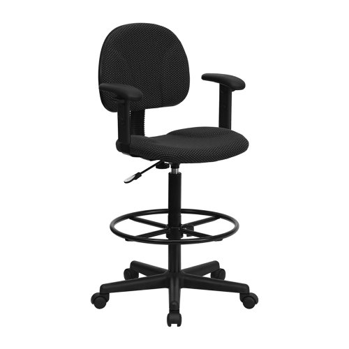 Offex Patterned Fabric Drafting Stool with Arms