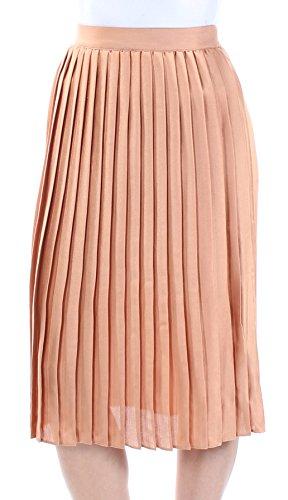 Maison Jules Womens Midi Silk Pleated Skirt Bronze M