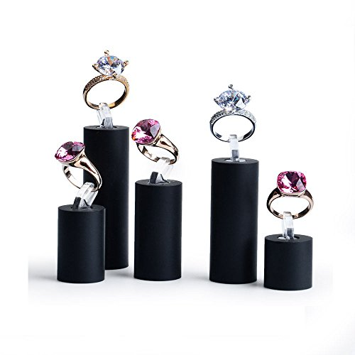 Oirlv Acrylic Jewelry Display Stand Ring Showcase Display Holder (5 PCS Rings Stand)