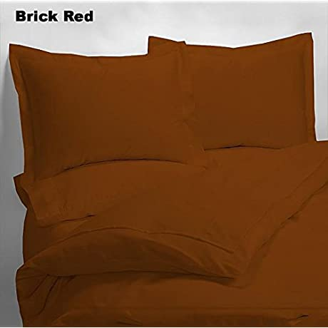 Luxury 600 Thread Counts 7pc Bed In A Bag With 500GSM Comforter Standrad Bunk Size Brick Red Solid 100 Egyptian Cotton By PARADISEHOUSE
