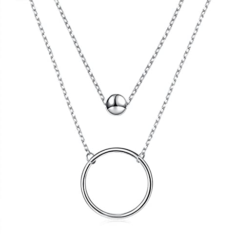 925 Sterling Silver Bead Circle Layered Double Chain Necklace for Women - Silver Double Circle Necklace