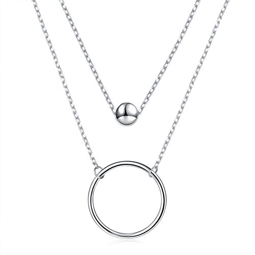 925 Sterling Silver Bead Circle Double Chain Layered Necklace for Women ( Rhodium Plated ) Circle Zirconia Necklace