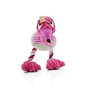 XENO-Hot Sale Pet Dog Cat Chew Plush Toy With Bird Woodpecker Sound Device Chew Toy(rose red)