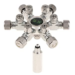 Baoblaze Divisor CO2 Válvula Retención Regulador de Divisor Dióxido de Carbono Acuario Acero Inoxidable - 6 Vías
