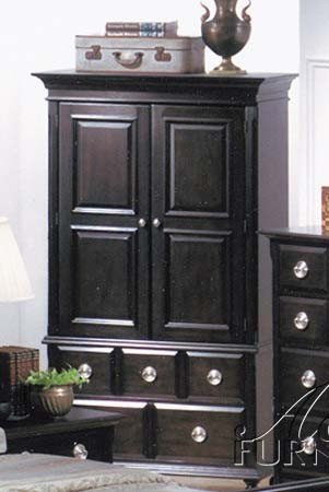 TV Armoire Stand with Silver Handles Espresso Finish