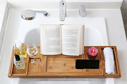 DozyAnt Luxury Bamboo Bathtub Caddy Tray - Wide Wine Glass Holder - Reading Shelf Suitable for Freestanding,Store All Bathtub Accessories - Bathtub Caddy