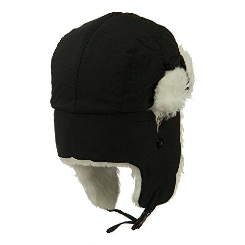 Faux Fur Aviator Trooper Hat - Black White S-M