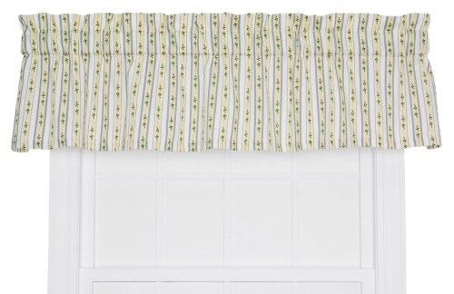 Ellis Curtain Cynthia Floral Stripe Print Tailored Window Treatment Valance, 70 by 12-Inch, Blue ()