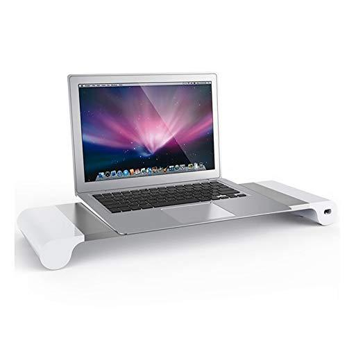 KKLTDI Aluminio Portatiles Soporte para Monitor Soporte para Ordenador, Metalica con 4 Puertos USB Multi-funcion Escritorio Organizador para Ordenador Impresora-la Plata 57x17cm(22x7inch)