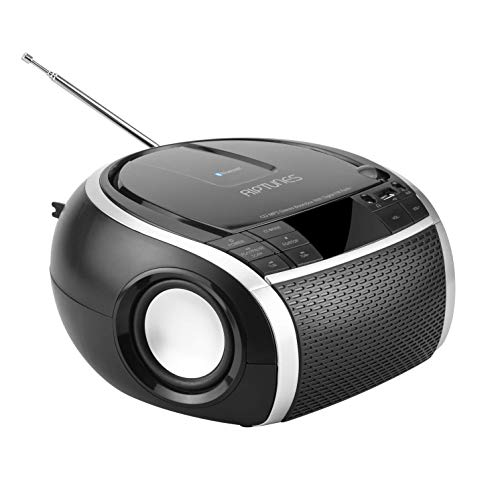 RIPTUNES Stereo Boombox, Portable MP3 CD Player, Bluetooth, Radio FM with 20 Presets, Digital LED Display with EQ, USB Playback, 3.5mm AUX Input (Cable Included) and Headphone Jack, Black