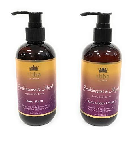 - Set of 8oz Frankincense & Myrrh Body Wash and Hand & Body Lotion