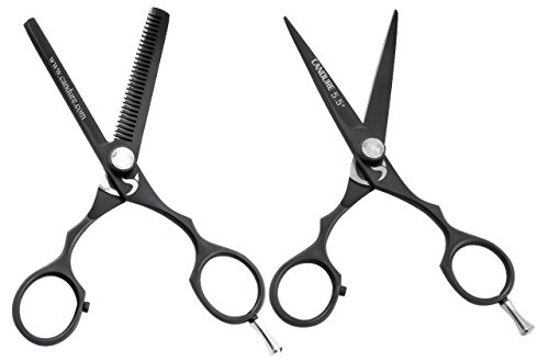 Hairdressing Scissors 5.5'' Barber Hair Cutting Thinning Salon Scissors Shears Black Colour with Fine Adjustment Screw By CANDURE by Candure (Image #6)