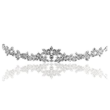 PIXNOR Wedding Prom Sparkly Bridal Crown Rhinestone Crystal Decor Headband Veil Tiara (Sliver)