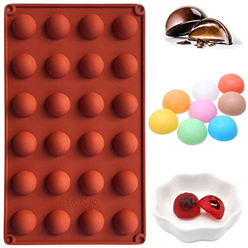PERNY Round Mold, Silicone Chocolate Candy Molds (24 Semi Sphere, 1