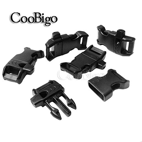 20 Pack 5//8 Side Release Buckle Curved Emergency Survival Whistle Buckle Black Parachute 550 Cord Paracord Bracelet Outdoor Camping Pets Collar Straps Harness Backpack Bag Parts Accessories