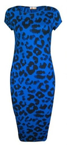Inspired Midi Womens Print Leopard Tie Blue Animal Celebrity Dye Crazy Dress Trible Bodycon Girls zqwAzt