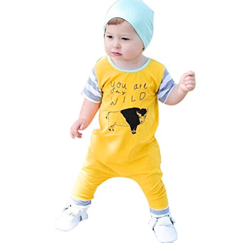 Fineser Baby Boysyou Are My Wild Short Sleeve Romper Jumpsuit Bodysuit Outfits Clothes (Yellow, 12M)