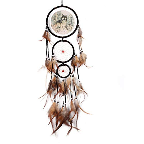 Feather Crafts Dream Catcher Brown Wind Chimes Handmade Wall Hanging Car Home Decoration,21 (Outdoor Lafayette Hanging)