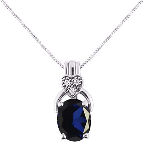 14K White Gold Diamond /& Oval Sapphire September Stone Pendant