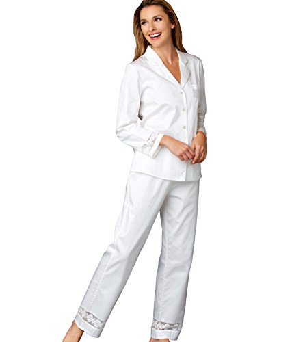 Julianna Rae Women's Pajama, 100% Cotton Sateen, Lace Trim, My New Favorite Collection, Milkshake, L