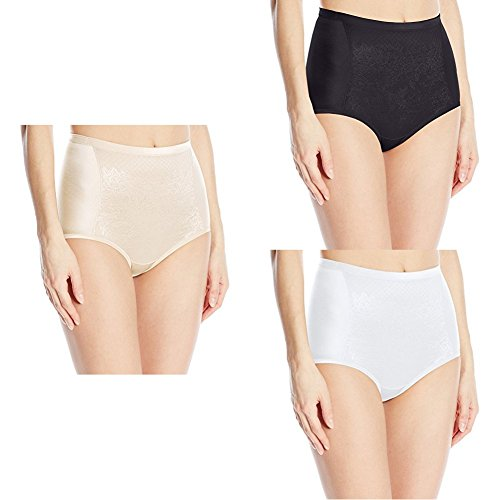 Vanity Fair Women's  Smoothing Comfort with Lace Brief Panty 13262, Champagne/Midnight Black/Star White, Medium/6
