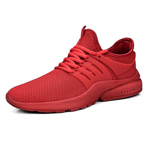 Feetmat Mens Walking Outdoor Lightweight Breathable Shoes Red Running Shoes for Boys Gym Athletics Tennis Sneakers Red 10M