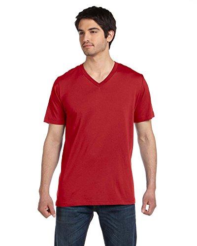 (Canvas Unisex 4.2 oz. V-Neck Jersey T-Shirt - CANVAS RED - XL)