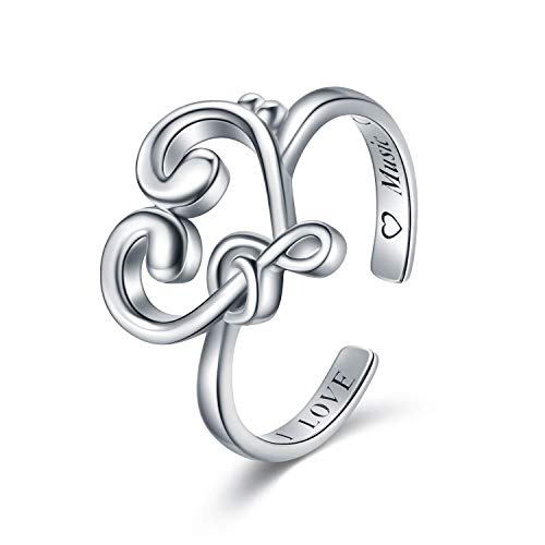 Sariel Music Ring for Music Lovers 925 Ring Treble Clef and Bass Clef Adjustable Ring Music Jewelry Gift Graduation Gift Music Teacher Gift Presents