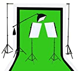 Fancierstudio U9004SB-10x12BWG Light Kit 2000 Watt Photo Video Lighting Kit with Hairlight Boomstand