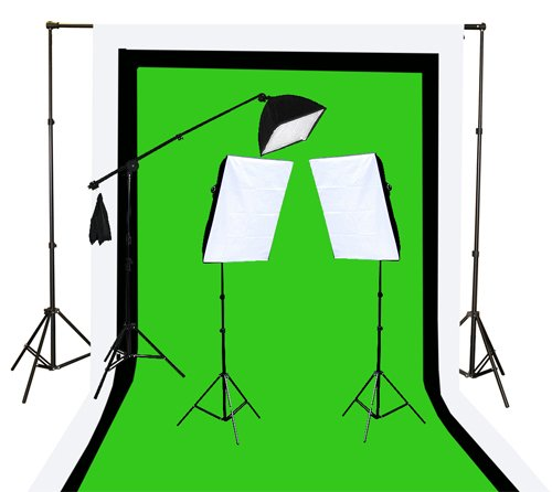 Fancierstudio U9004SB-10x12BWG Light Kit 2000 Watt Photo Video Lighting Kit with Hairlight Boomstand by Fancierstudio