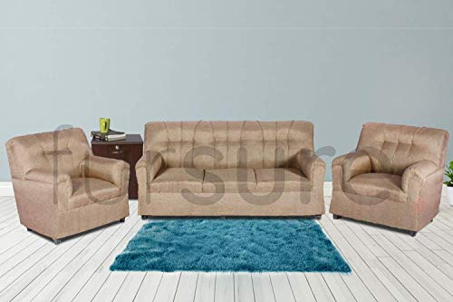 Fursure Upholstered 5 Seater Sofa Set  Cream   3+1+1  Modern Style   Jute Fabric Material