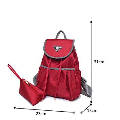Wewod Nylon Backpack Mochilas Escolares Mochila Escolar Casual Bolsa Viaje Moda Estilo De La Señora Mujer 23* 31 *15 cm (Largo * Alto * Grueso) (Rojo) Rojo