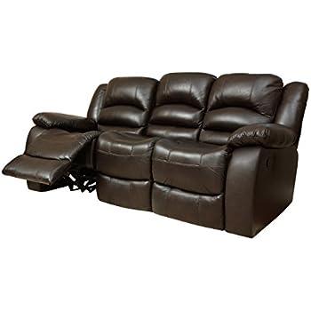 Abbyson® Dallas Italian Leather Reclining Sofa, Brown