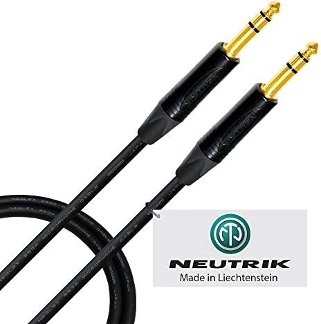 1.5 Foot ? Quad Balanced Patch Cable CUSTOM MADE By WORLDS BEST CABLES ? using Mogami 2534 wire and Neutrik NP3X-B ¼ Inch (6.35mm) TRS Stereo Phone Plugs