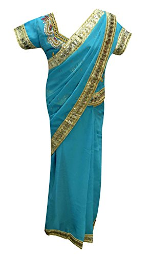 Turquoise Children ready made Traditional Girls, kids saree for Bollywood theme party London UK 1205 (34 ( 10-11 Yrs), - Guaranteed Day Next Royal Mail Delivery