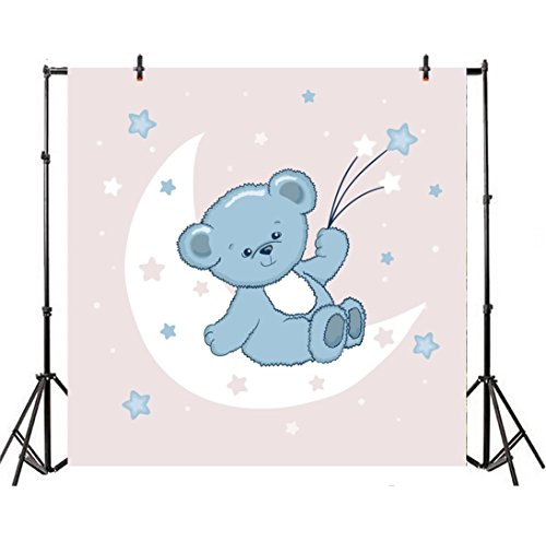 Leyiyi 6.5x6.5ft Photography Backdrop Cartoon Baby Shower Background Crescent Moon Toy Bear Doll Twinkle Stars Dreamlike Wallpaper Confitti Happy Birthday Banner Photo Portrait Vinyl Studio Prop ()