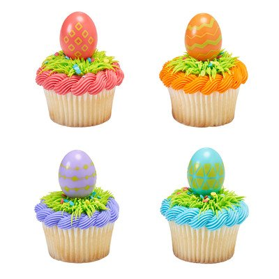 Cupcake 3d Picks - 24 ct.3D Traditional Egg Cupcakes Picks with Cupcake Wrappers
