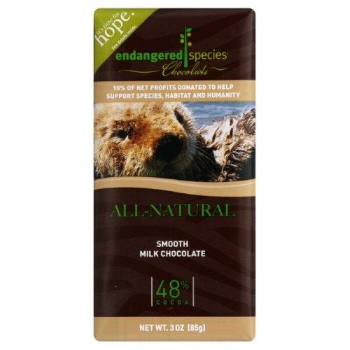 Dark Milk Chocolate Bar - Endangered Species Chocolate Milk Otter Smoth, 3-ounces (Pack of 6)