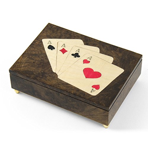 Handcrafted Italian Poker Theme Inlay of 4 of a Kind ACES music box - Rock of Ages - Christian Version by MusicBoxAttic