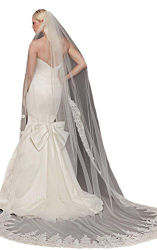 Passat Diamond White Single-Tier 3M Cathedral Truly Zac Posen Metallic-Edged Bridal Veil DB96 by Passat