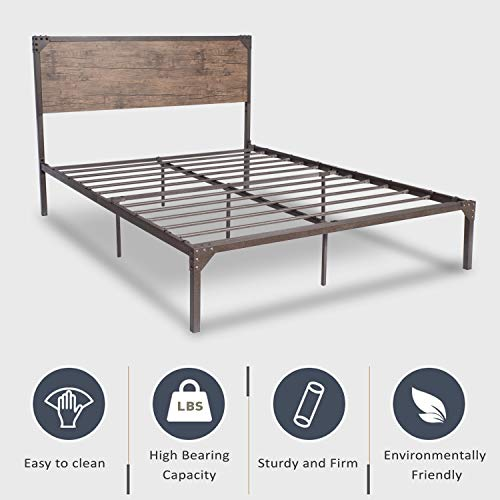 Urest Industrial Queen Size Bed Frame with Headboard/Metal Platform Bed Frame/Mattress Foundation/Strong Slat Support/No Box Spring Needed, Snow Brown