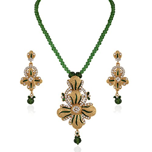 Variation Green Meenakari Gold Plated Alloy Pendant Necklace Set For Women - VD13901