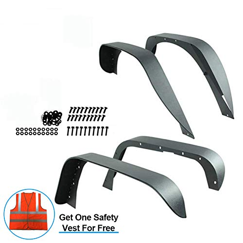 U-Drive Auto Tuxtured Steel Flat Style Fender Flares for 2007-2018 Jeep Wrangler JK Unlimited (Drilling Required)