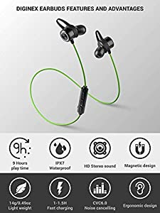 Diginex Bluetooth Earbuds Wireless Magnetic Headset Sport Earphones for Running IPX7 Waterproof Headphones 9 Hours Playtime High Fidelity Stereo Sound and Noise Cancelling Mic 1 Hour Recharge from Diginex